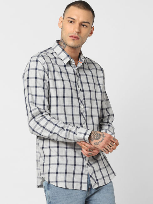 Light Grey Check Full Sleeves Shirt