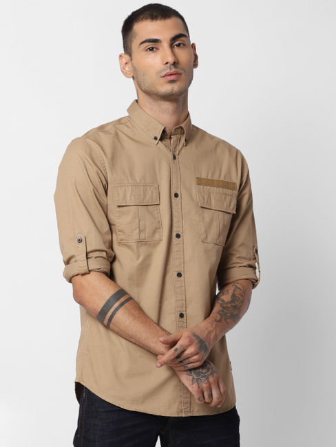 Brown Button Down Full Sleeves Shirt