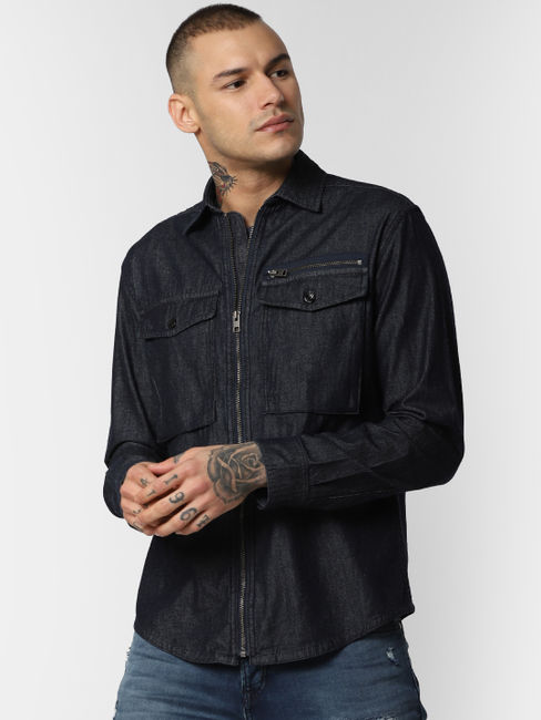 Dark Blue Zip Up Denim Full Sleeves Shirt
