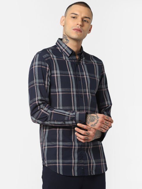 Navy Blue Check Full Sleeves Shirt