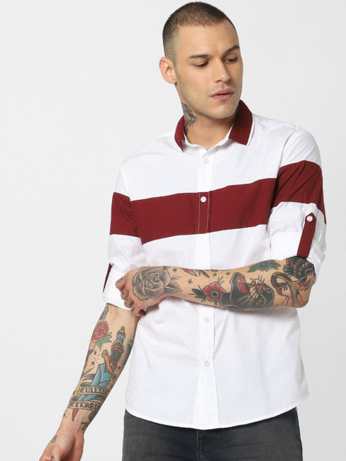 White Colourblocked Full Sleeves Shirt