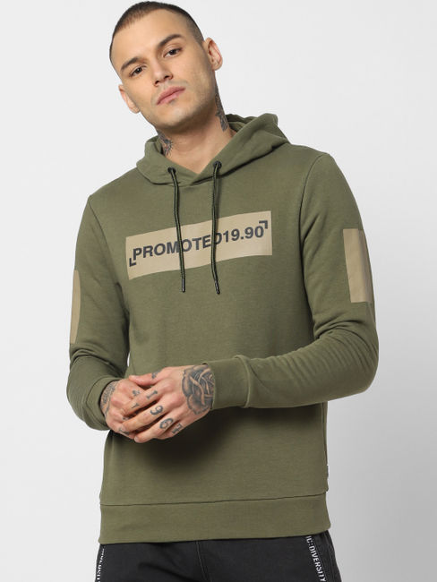 Green Patch Print Hooded Sweatshirt
