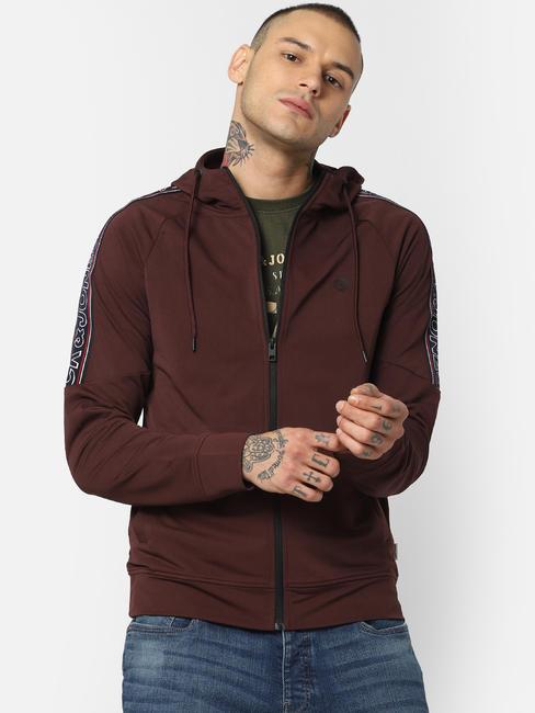 Dark Brown Tape Detail Hooded Sweatshirt