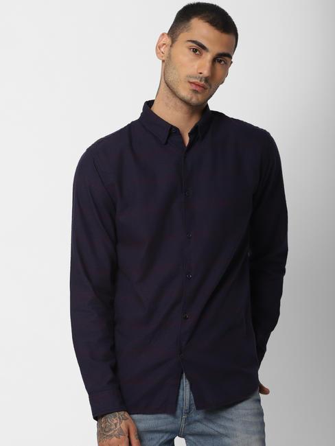 Dark Blue Striped Full Sleeves Shirt