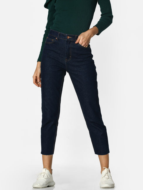 Dark Blue High Rise Straight Fit Jeans