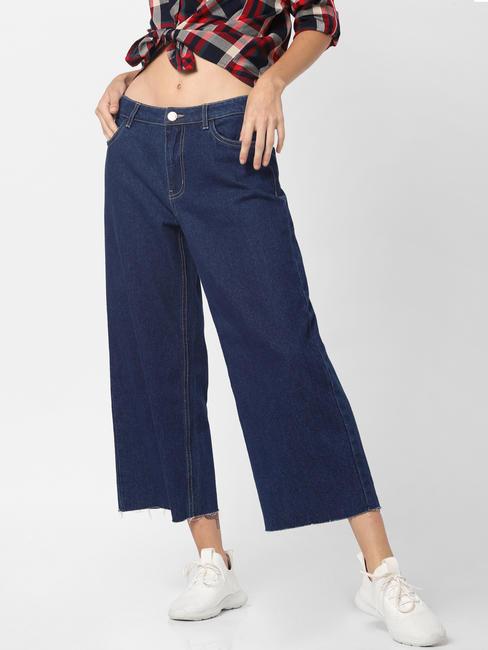 Dark Blue High Rise Wide Leg Jeans