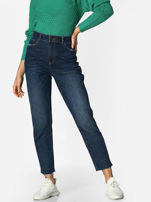 Blue High Rise Frayed Hem Straight Fit Jeans