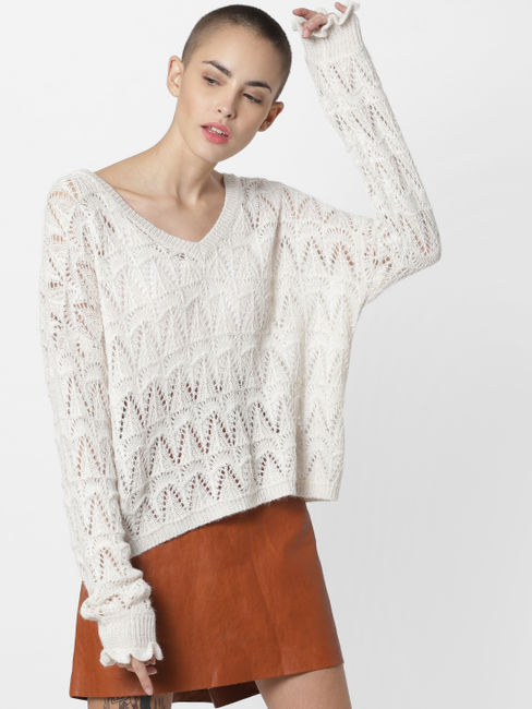 White Textured Loose Fit Pullover