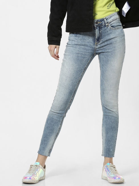 Blue Mid Rise Washed Skinny Jeans