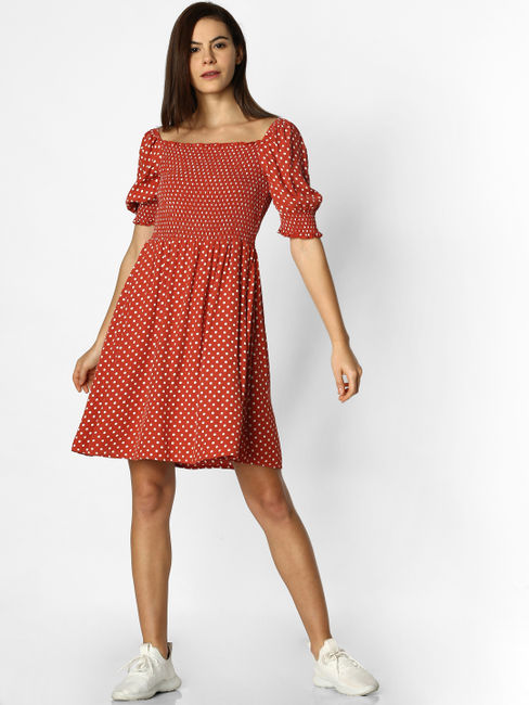 Rust Polka Dot Smock Mini Dress