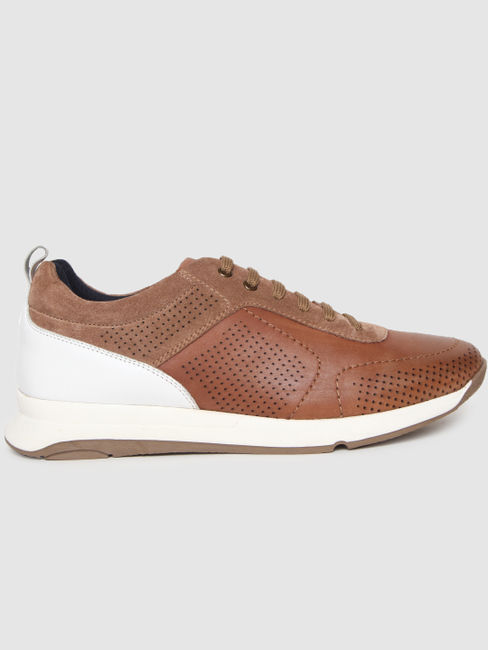 Light Brown Colourblocked Leather Sneakers