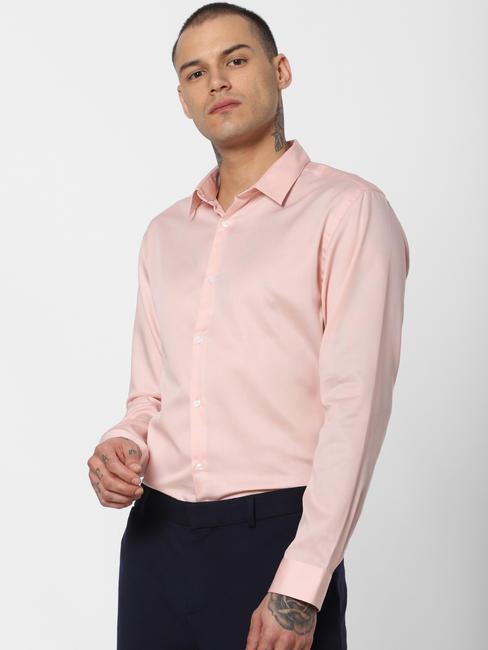 Pink Slim Fit Full Sleeves Shirt