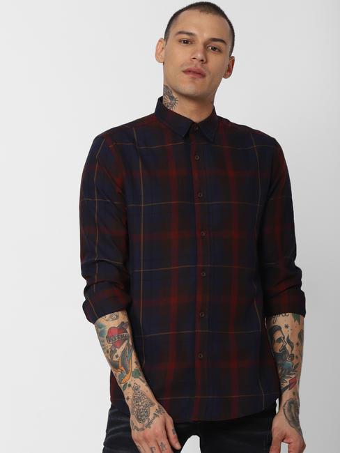 Maroon Check Full Sleeves Shirt