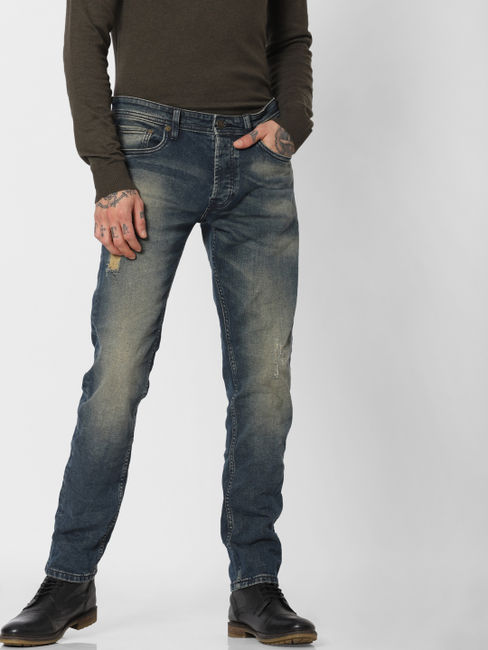 Blue Low Rise Washed Tim Slim Fit Jeans