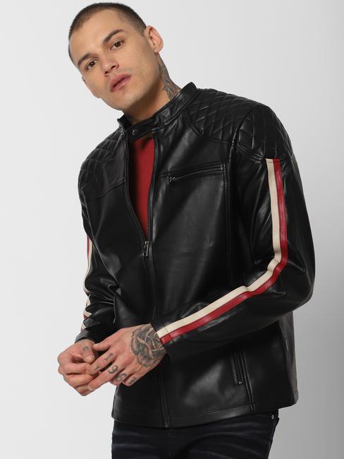 Black Tape Detail Biker Jacket