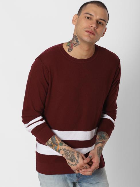 Dark Red Striped Pullover