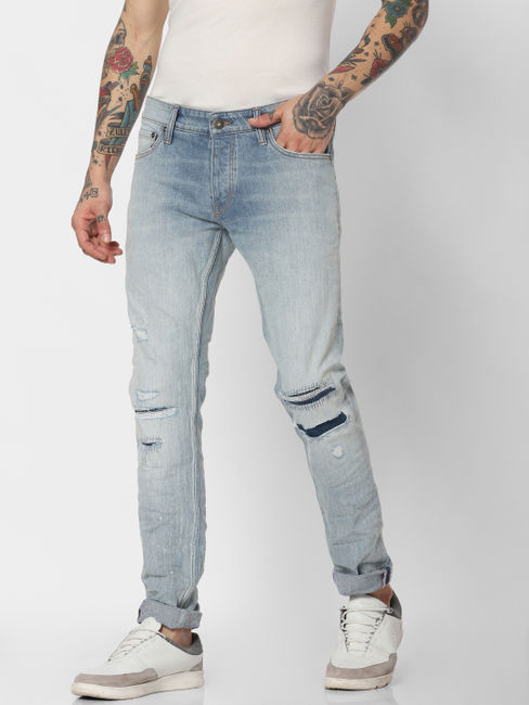 Jack & Jones Blue Super Stretch Glenn Slim Fit Jeans