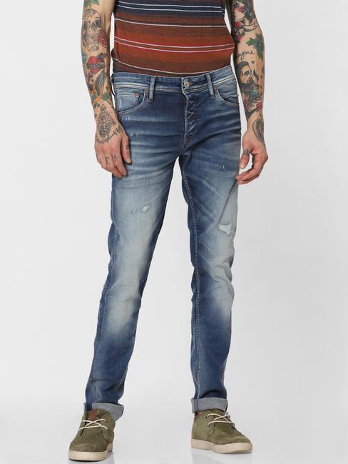 Blue Distressed Glenn Slim Fit Jeans