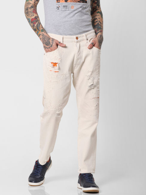 Cream Ripped Frank Slim Fit Jeans