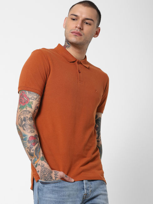 Brown Polo Neck T-shirt