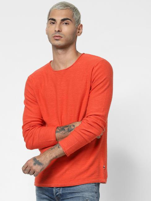 Orange Crew Neck Pullover