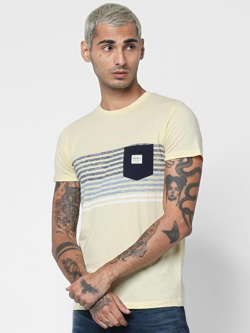Light Yellow Striped Patch T-shirt