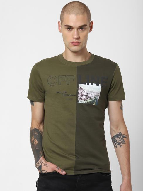 Green Colourblocked Crew Neck T-shirt