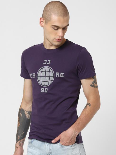 Purple Graphic Print Crew Neck T-shirt