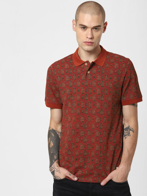 Brick Red All Over Print Polo T-Shirt