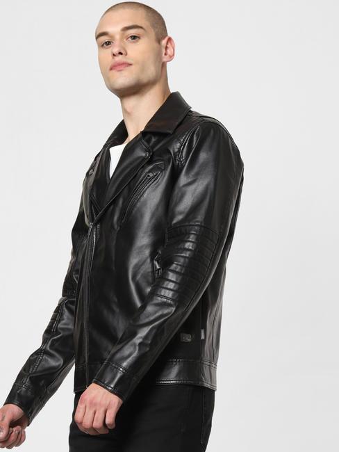 Black Zip Detailing Biker Jacket