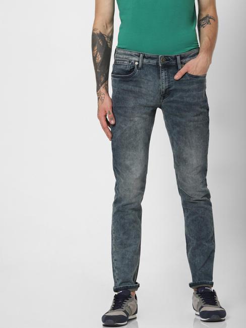 Blue Low Rise Heavily Faded Glenn Slim Jeans