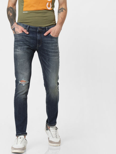 Blue Low Rise Ripped Ben Skinny Jeans