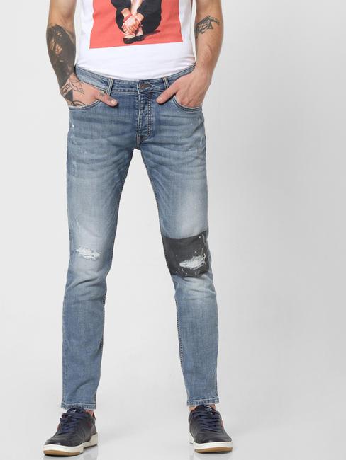 Light Blue Low Rise Patch Print Slim Fit Jeans
