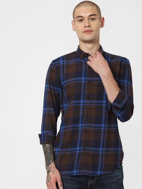 Navy Blue Check Full Sleeves Shirt