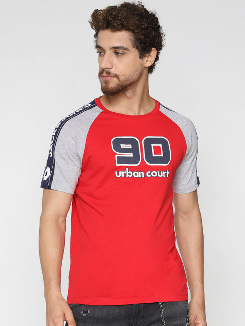 Red Colourblocked Crew Neck T-Shirt