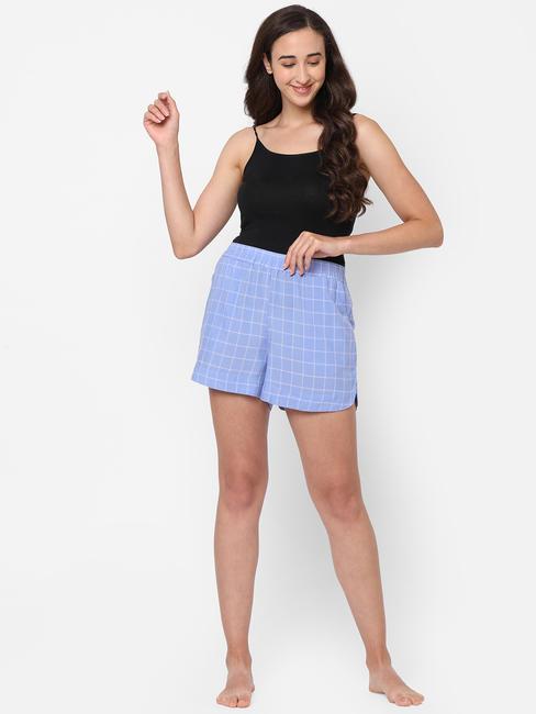 Cute Blue Cotton Lounge Shorts