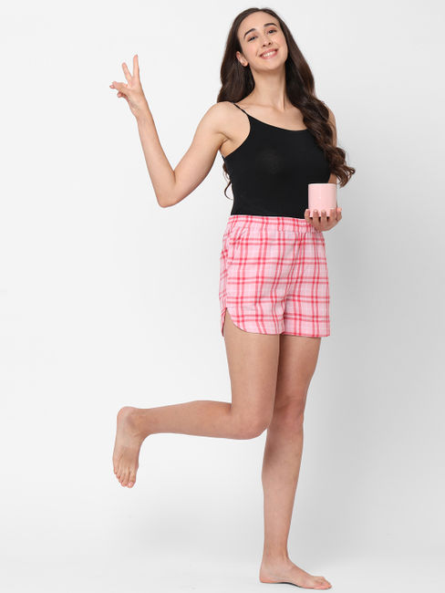 Pink Checked Cotton Lounge Shorts