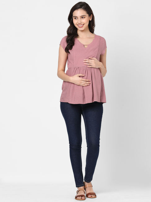Checkered Pink Longue Wear Top