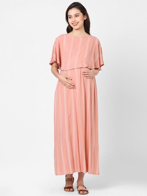 Stylish Pink Maternity Dress