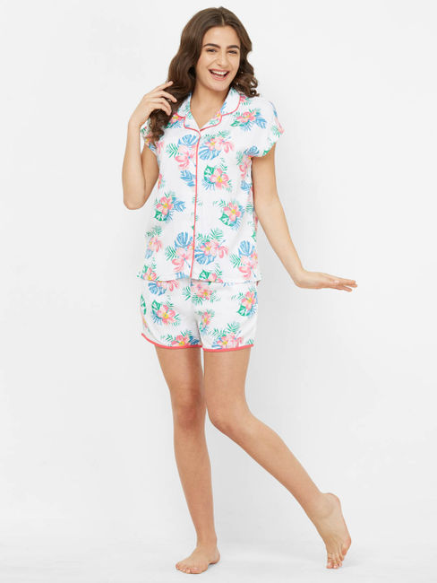 Tropical Floral Print Shorts Set