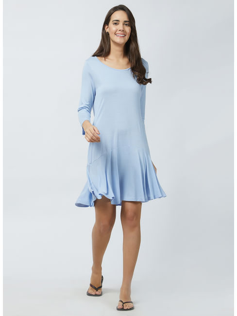 Flared Solid Lounge Dress