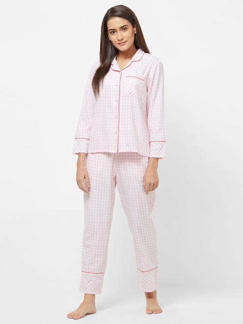 Classic Rayon Checked Shirt Pyjama Set
