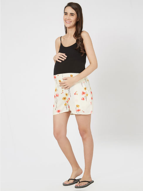 Maternity Ruched Floral Shorts