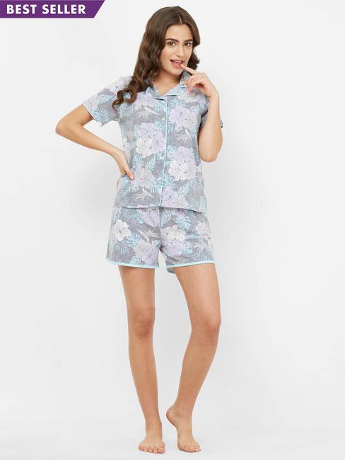 Pretty Floral Print Shorts Set