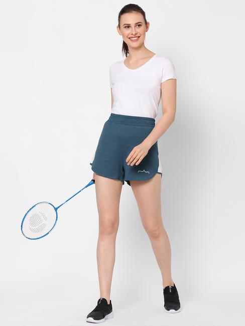 Stylish Green Cotton Sports Shorts