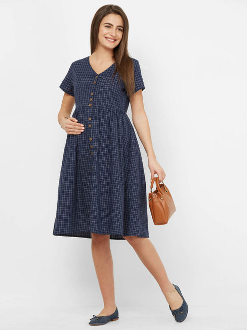 Classic Checked Maternity Dress