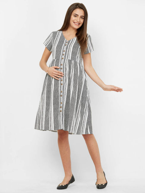 Classic Striped Maternity Dress