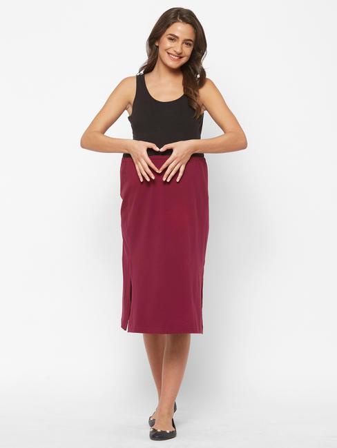 Stylish Maroon Cotton Maternity Skirt