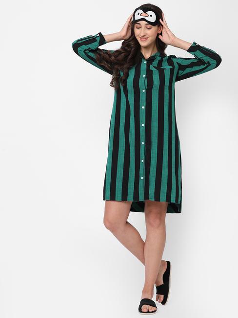 Stylish Striped Cotton Sleep Shirt Dress