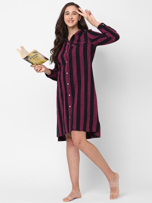 Classic Striped Cotton Sleep Shirt Dress